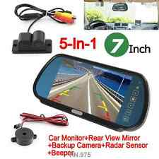 "7"" TFT LCD Monitor Car Rearview Mirror Camera Parking Sensors Radar System Kit"