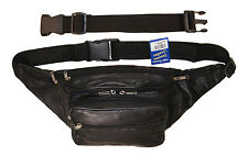 "Leather Large Concealed Pouch Fanny Pack Bag with 18"" Free Extension Belt"