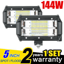 "2x 5""Inch 12V 144W LED Work Light Bar Dual Flood Pods Driving Off-Road Tractor @"