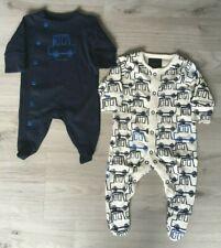 New Next Baby Boys Blue Navy Cars Vehicles Cotton Sleepsuits Romper Newborn 0-1