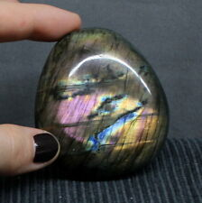 "2.38"" Nice Purple Flash Labradorite Pebble Spectrolite Reiki Palm Stone, Lbt919"