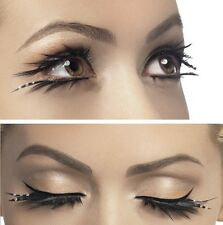 False Long Eyelashes Top & Bottom Plus Glue Fancy Dress Black #34532 New Smiffys