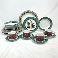 20 PIECE SET SAKURA DEBBIE MUMM PENGUIN DINNERWARE DINNER SALAD PLATE BOWL CUP