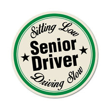 Senior Driver Sitting Low Driving Slow Sticker Decal Funny Vinyl Car Bumper #...
