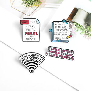 Creative Cartoon Letter Enamel Pin Brooch Personality Label WIFI Signal Brooch