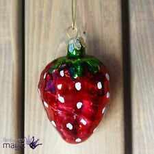 Gisela Graham Painted Glass Strawberry Fruit Hanging Christmas Tree Decoration