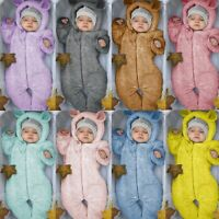 Winter Newborn Baby Boy Fleece Jumpsuit Solid Hooded Romper Warm Coat Outwear