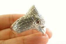 Eagle Red Garnet Eyes 925 Sterling Silver Ring Size 9.75 10.75 11.25