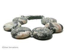Pink & Grey Flamingo Jasper Coin Beads Adjustable Sliding Knot Macrame Bracelet