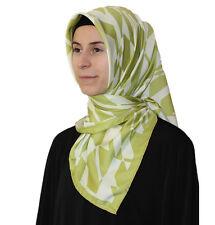Turkish Aker Satin Square Hijab Scarf 6749 951 Bright Green / White