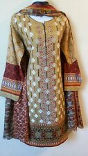 Pakistani / Indian 3PC Shalwar Kameez Cotton Embroidery Brown Women Size M NEW