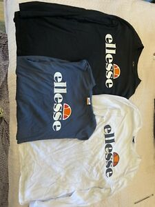 3x BNWOT Ellesse Prado Large Logo Longsleeve T Shirt Size L Black Navy White