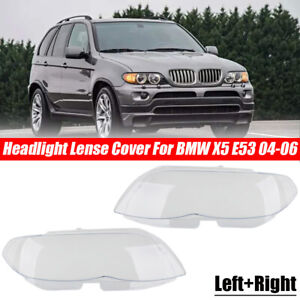 Left & Right Headlamp Headlight Cover Lens Plastic Shell For BMW X5 E53 2004-06