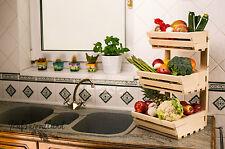 3 Tier Wall Mountable Wooden Vegetable fruit rack Classic