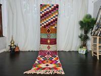 Handmade Moroccan Boujad Vintage Runner Rug 2.3x10.5 Patchwork Colorful Wool Rug