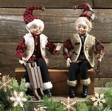 "RAZ Imports 19"" Posable Christmas Elves (Set of 2), Ski, Sled, Plaid Flannel"