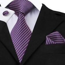 Claissic Silk Men Tie Set Red Blue Pink Purple Stripe Necktie Hankderchief Woven