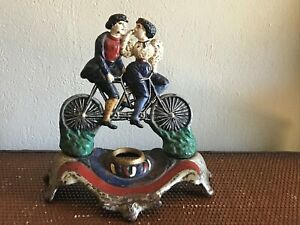 Bicycle Built For Two Cast Iron Doorstop Inkwell Pat Applied RARE Antique Vtg I1