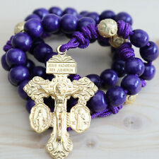 Rosary Purple Paracord Wood Gold Wearable Rope Cord Catholic Rosario