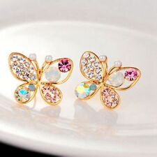 Colourful cystal Simulated Pearl Butterfly Stud Earrings - AUSTRALIA POSTED