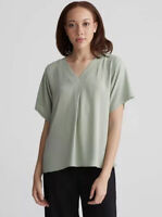 Eileen Fischer sz Large Sea Green Relaxed Fit V-Neck 100% Silk Blouse