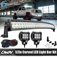 "Fit Pickup ATV Polaris RZR Yamaha Upper Roof 52""288W Curved LED Light Bar 50"""