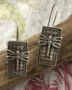 Handmade Balinese Large Sterling Silver Rectangular Dragonfly Drop Earrings