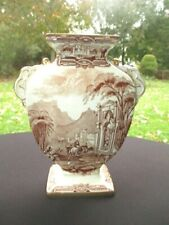 19th c GENOA GRIMWADES VERY EARLY BROWN TRANSFERWARE URN VASE 7""