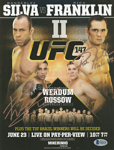RICH FRANKLIN FABRICIO WERDUM SIGNED AUTO'D MINI POSTER BAS COA UFC 147 CHAMPION