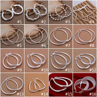 Wholesale Fashion Womens Jewellery 925Silver Round Hoop Dangle Earrings gifts