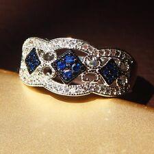 Fashion Blue Sapphire Birthstone Silver Filled Wedding Bridal Ring Gift Size 8