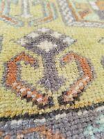 "Beautiful Antique Cr1930-1940's Natural Dye Wool Pile Oushak Rug 3'2"" x 6'5"""