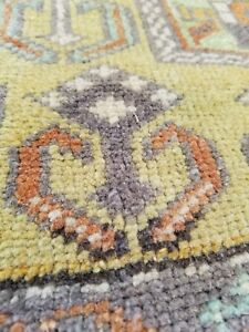 "Beautiful Antique Cr1930-1940's Natural Dye Wool Pile Oushak Rug 3'2"" x 6'5"""