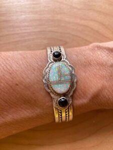 Navajo Sterling Silver Cuff Bracelet Stamped T Francis Opal Onyx