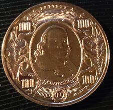 1 OZ COPPER ROUND $100 BILL (BENJAMIN FRANKLIN) DESIGN