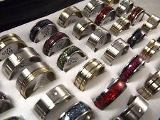 WHOLESALE 36pcs Mix Golden Rainbow Silver rheinstone STAINLESS STEEL RINGS