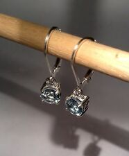 925 Sterling Silver 6mm Round Natural Sky Blue Topaz Leverback Earrings 2.40CTW