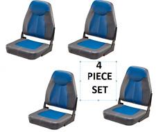 Folding High-Back Boat Seats 4-Pack Boating Bass Fishing Ski  Pontoon Blue/Gray
