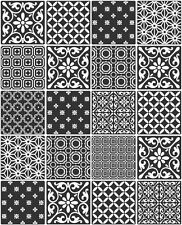 Ceramica Black Geometric Moroccan Tile Kitchen/Bathroom Wallpaper (FD41465)