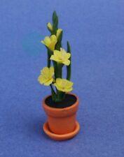 Miniature Dollhouse Yellow Gladiolus Plants Flowers New