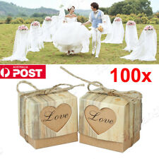 100X Wedding Love Heart Rustic Kraft Candy Boxes With Rope Sweet Cake Gift Favor