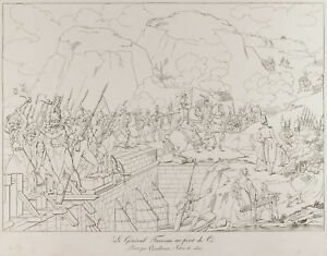 Engraving antique 1876: The General Furreau to The Bridge Of Cé. War Of Vendee