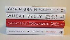 Lot 4 Health Books (HC) Anticancer, Wheat Belly, Total, Grain Brain_Lose, Carbs