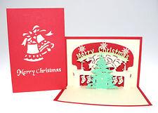 u3D Pop Up Christmas Greeding Card Xmas Christmas Tree Bells Socks Gift Holiday