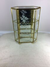 Vintage Glass/Mirror/Brass Miniatures/Curios Display Case in Good Used Condition
