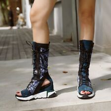 Women Open Toe Hidden Wedge Heel Hollow Out Mid Calf Boot Lace Up Leather Sandal