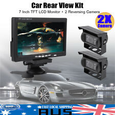 "7"" TFT LCD Monitor Car Rear View Kit + 2X Reversing Cameras for RV Truck Bus AU"