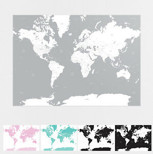A1 Map of the World Globe Poster Design Wall Prints - White Black Grey Pink Teal