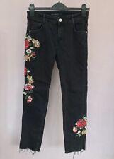 Zara Embroidered Jeans Size 8 Black Floral Rose Raw Hem Faded Black Boyfriend