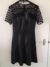 Zara Faux Leather Short Sleeve Dresses for Women